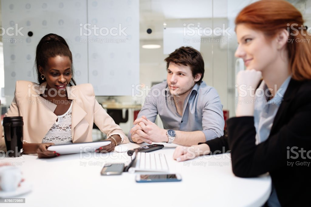Enjoyable Business People Meeting At Round Table Stock Photo More Interior Design Ideas Ghosoteloinfo