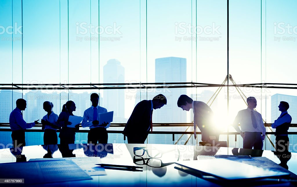 Business People Meeting Bowing Japanese Culture Concept stock photo
