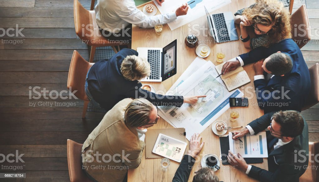 Business People Meeting Conference Discussion Corporate Concept stock photo