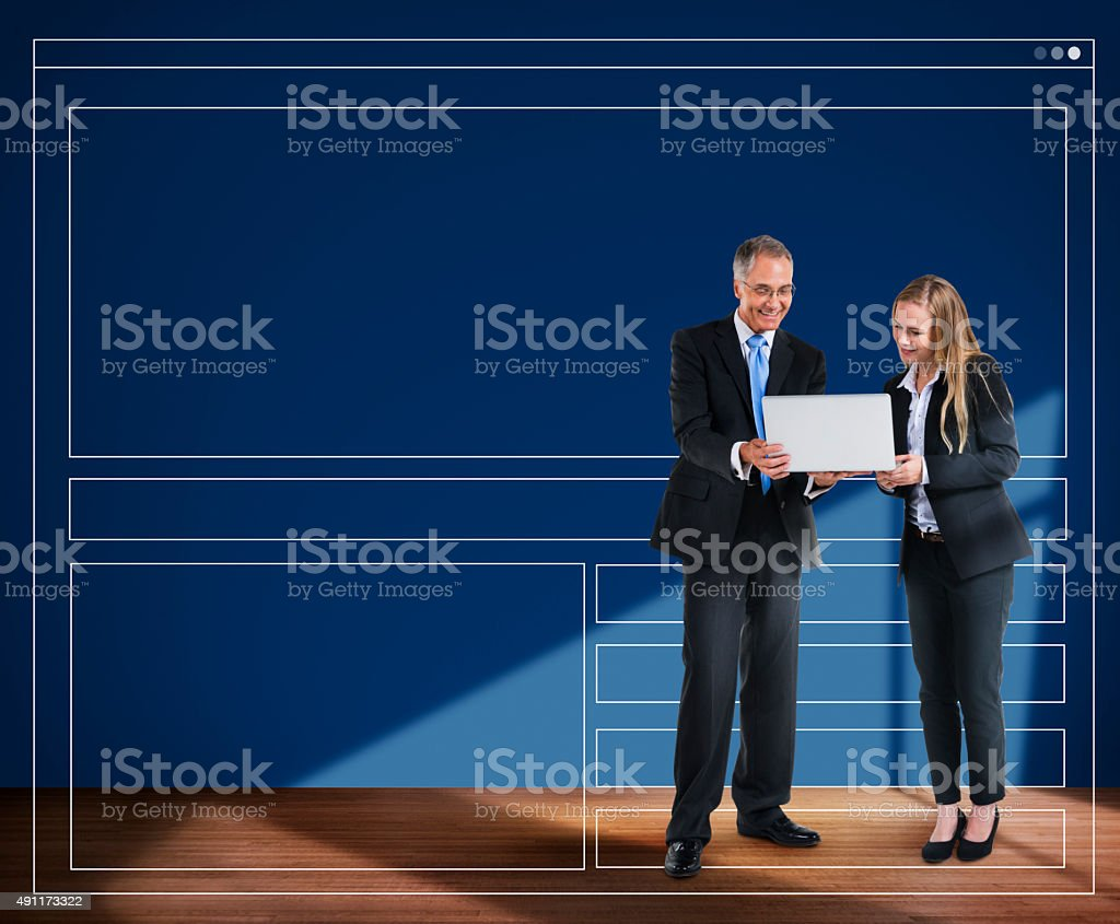 Business People Meeting Discussion Searching Webpage Concept stock photo