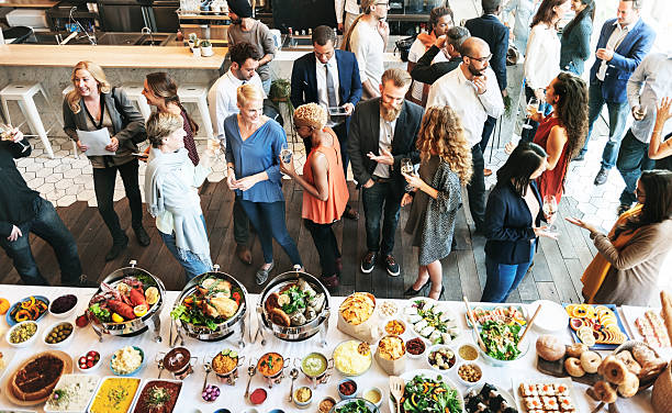 Business People Meeting Eating Discussion Cuisine Party Concept 스톡 사진