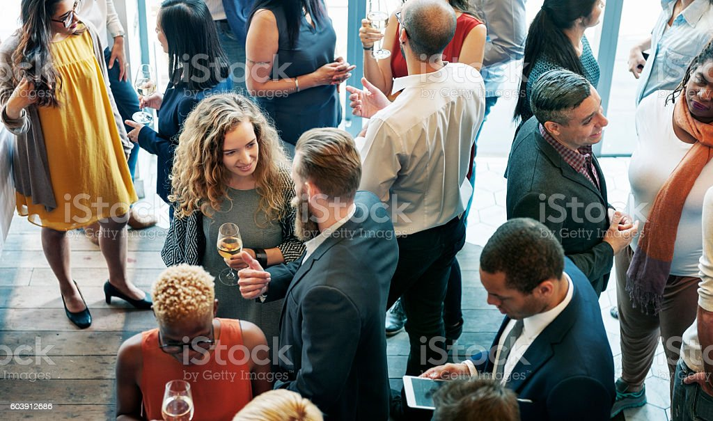 Business People Meeting Eating Discussion Cuisine Party Concept stock photo