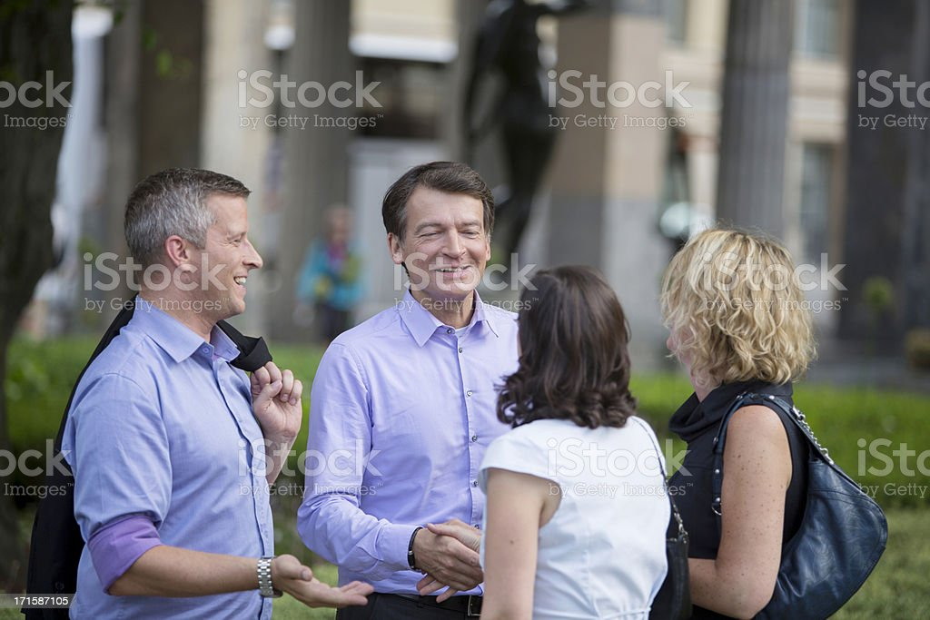 Business People Meeting in the Park royalty-free stock photo