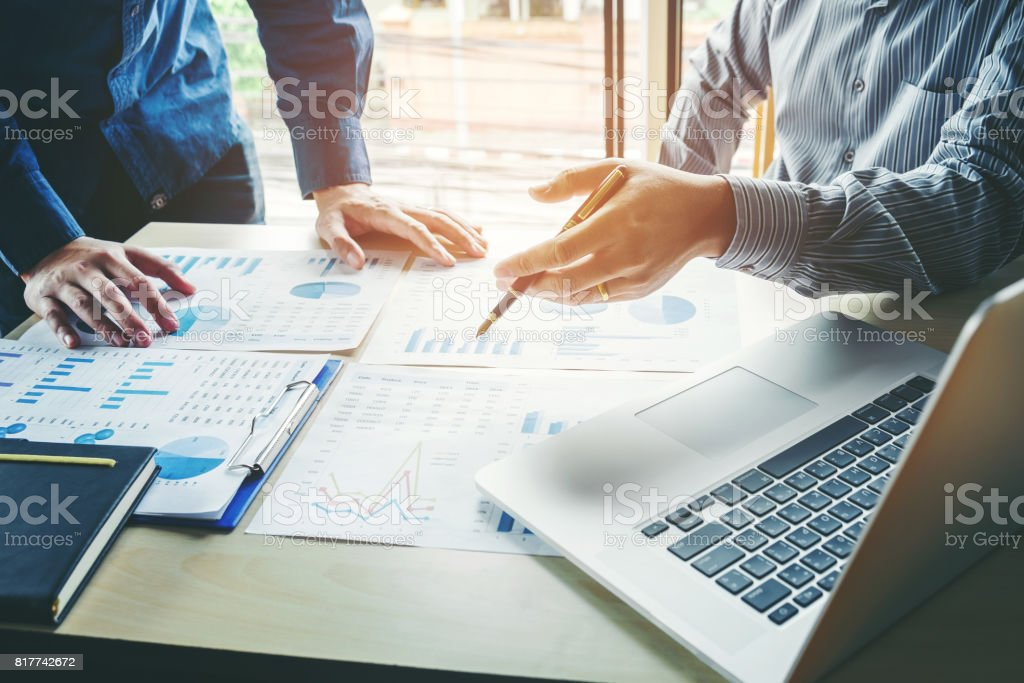 Business People meeting Planning Strategy Analysis  Concept  laptop meeting with technology stock photo