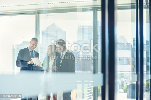 istock Business people meeting with a digital tablet. 1020236218