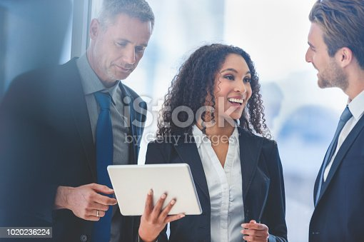 istock Business people meeting with a digital tablet. 1020236224