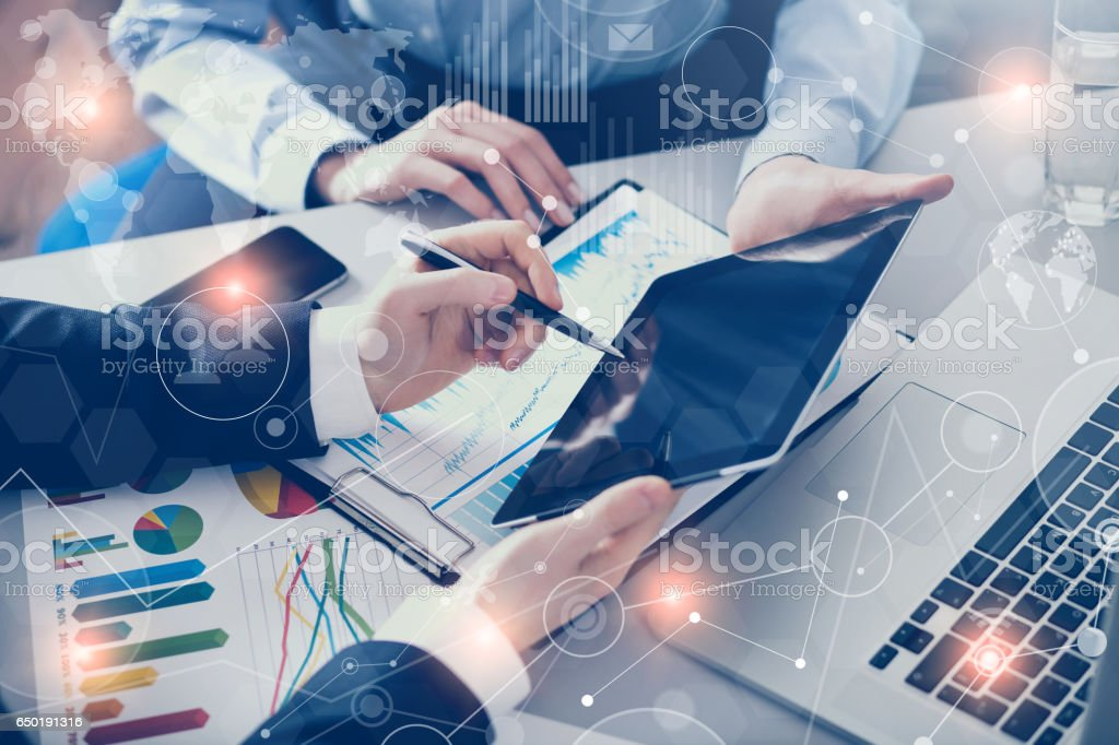 Business people meeting with technology stock photo