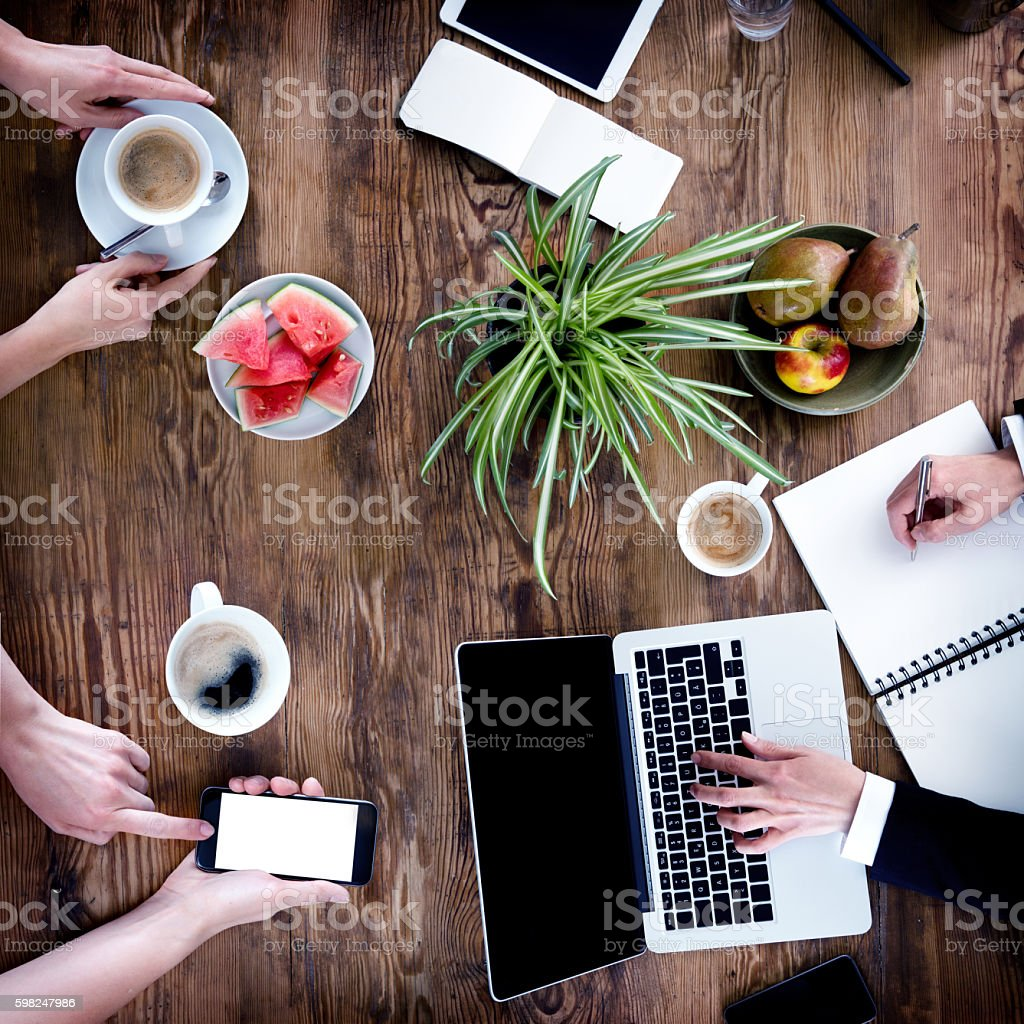 Business People Meeting -Women Hands Using Laptop, Smartphone, Notebook stock photo