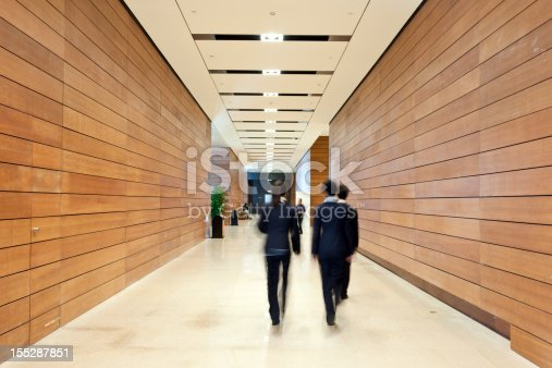 171150458 istock photo Business people moving along the corridor 155287851
