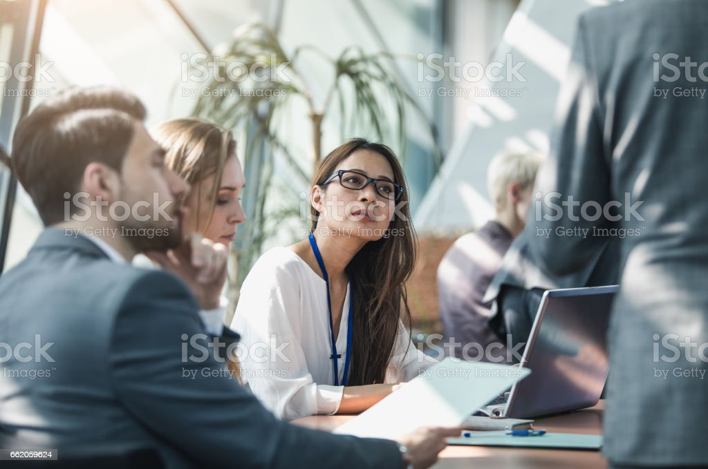 Business People on a Conference Event Discussing royalty-free stock photo