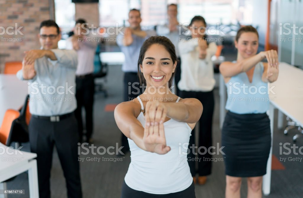 Business people on an active break at the office stock photo