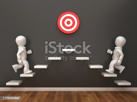 1014851458 istock photo Business People on  Steps with Target in Room - 3D Rendering 1129350697