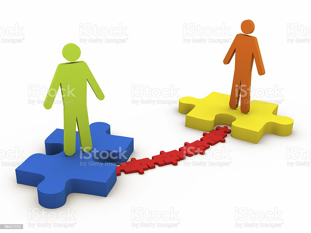 Business People on the Puzzle royalty-free stock photo