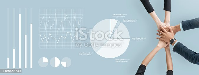 istock Business people partner join hands on isolated blue background. 1185458749