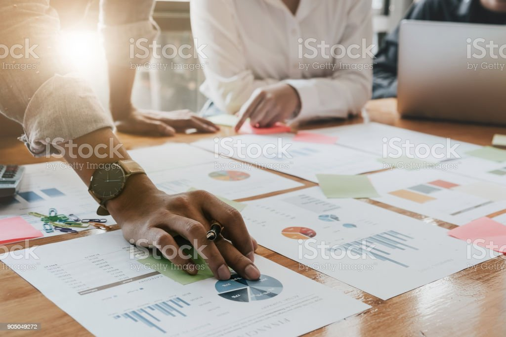 Business People Planning Strategy Analysis from financial document report, Office Concept stock photo
