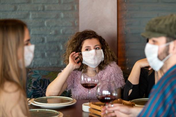 Business people protected from coronavirus stock photo