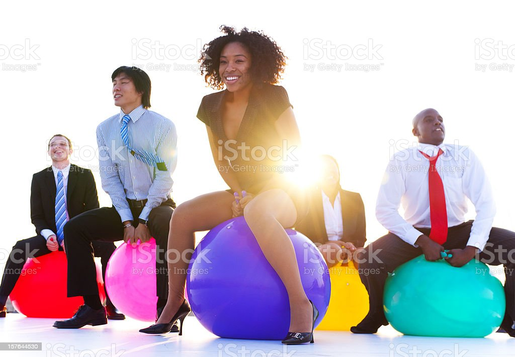 Business people relaxing and having fun together stock photo