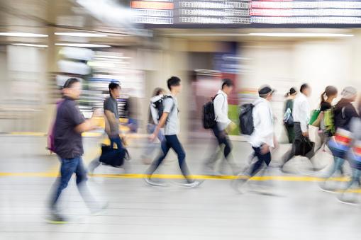 Business People Rushing in Subway Station, Tokyo Metro, Japan