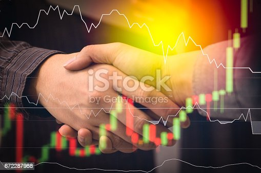 istock Business people shaking hands, finishing up a meeting, Partnership Teamwork Deal Cooperation 672287988