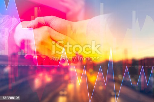 istock Business people shaking hands, finishing up a meeting, Partnership Teamwork Deal Cooperation 672288106