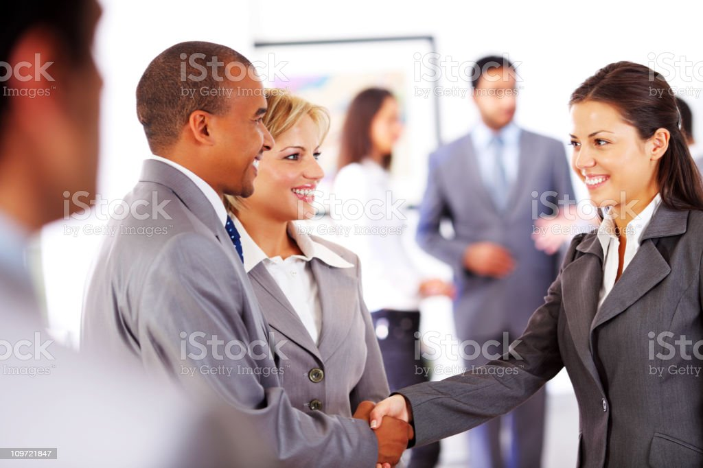 Business people shaking hands, group employers is behind. royalty-free stock photo