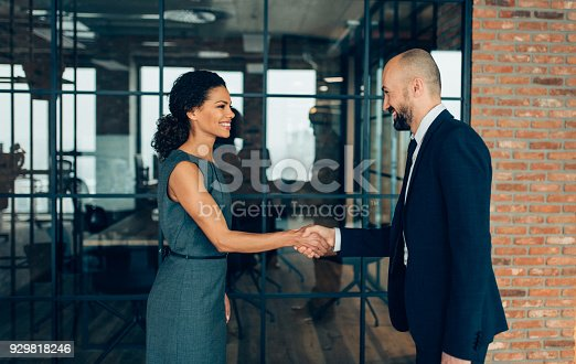 Business people smiling and shaking hands