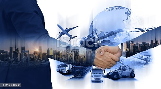 istock Business people shaking hands, success business of Logistics Industrial Container Cargo freight ship for Concept of fast or instant shipping, Online goods orders worldwide 1126300638