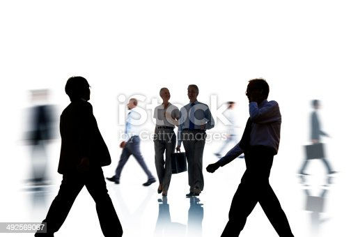 istock Business People Silhouettes Commuting and Isolated on White 492569067