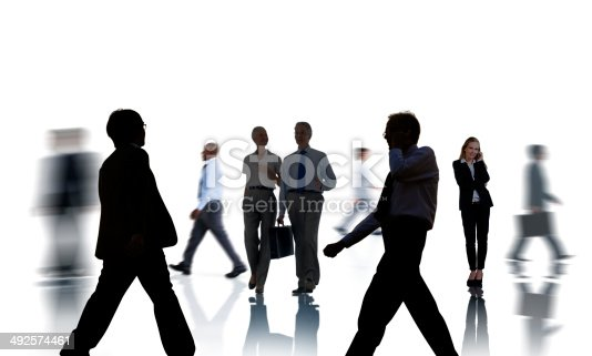 istock Business People Silhouettes Commuting and Isolated on White 492574461