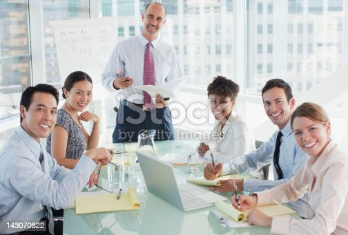 istock Business people sitting in meeting 143070822