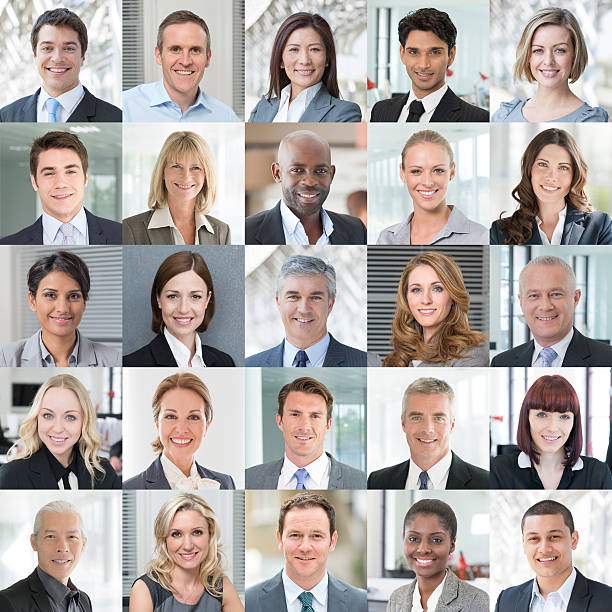 business people smiling - headshot portraits collage - head stock photos and pictures