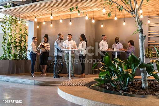 Businessmen and women standing at tables and talking, open plan cafe in corporate office building, break out area, taking a break, relaxing at work