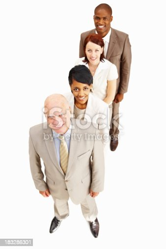 istock Business people standing in a line while looking at you 183286301