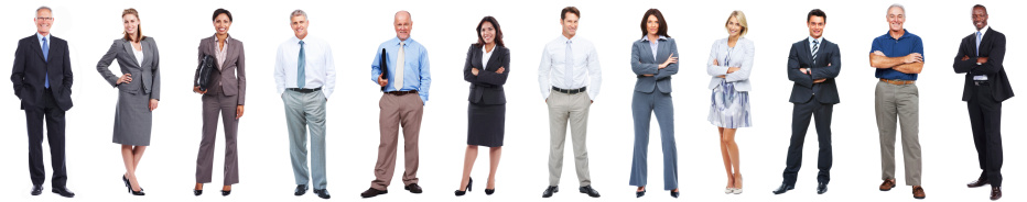 Full length of business people standing in a row on white background