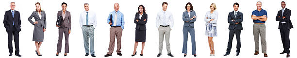 business people standing in a row on white background - cut out stok fotoğraflar ve resimler