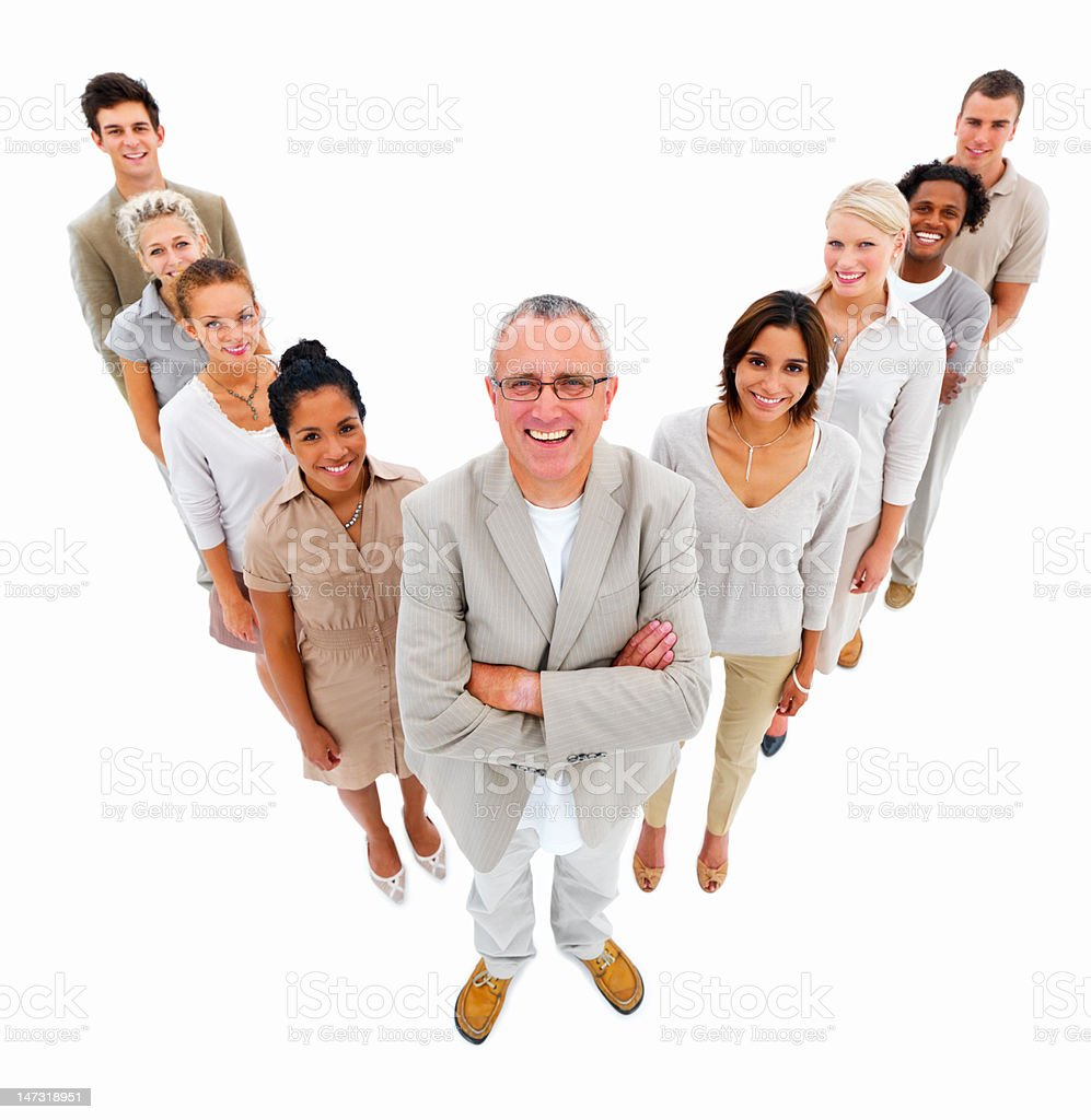 Business people standing together against white background royalty-free stock photo