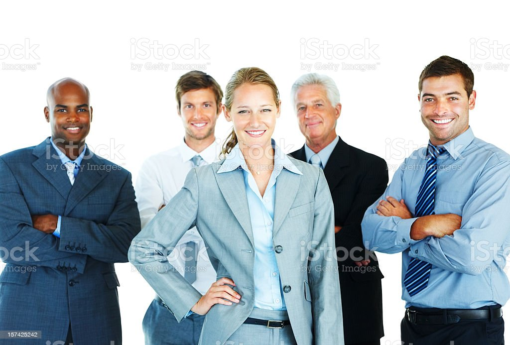 Business people standing together and smiling royalty-free stock photo
