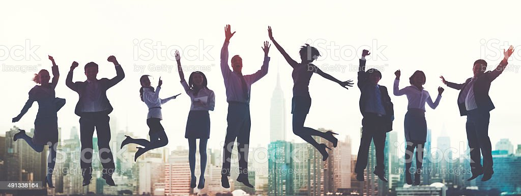 Business People Success Excitement Victory Achievement Concept stock photo