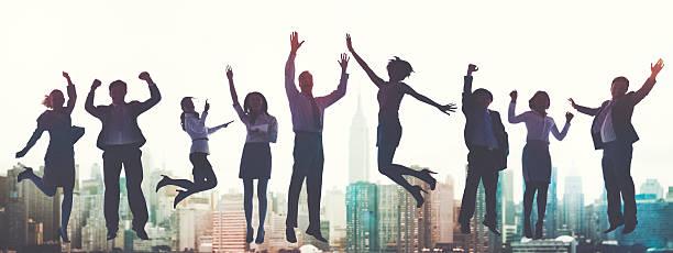 ビジネスの成功のコンセプトのエキサイティングなビクトリー達成 ストックフォト