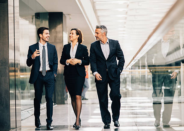 business people taking a break - three people stock photos and pictures
