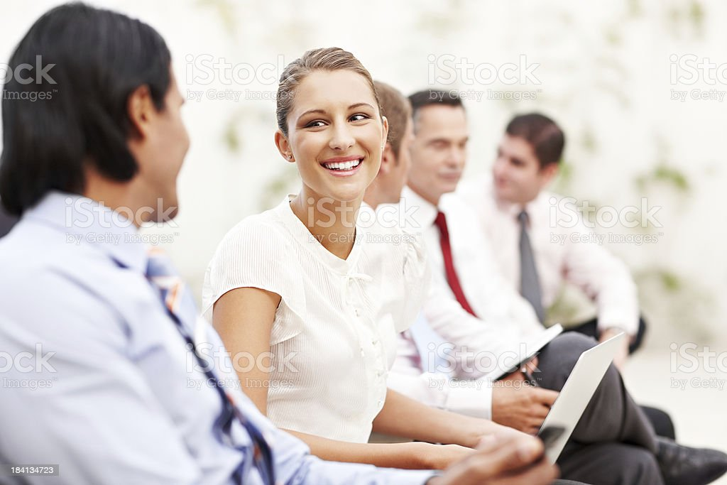 Business People Talking at a Conference royalty-free stock photo