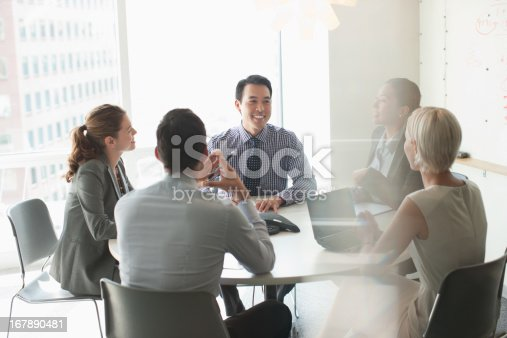 istock Business people talking in meeting 167890481