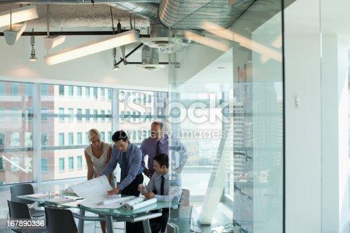 istock Business people talking in office 167890336