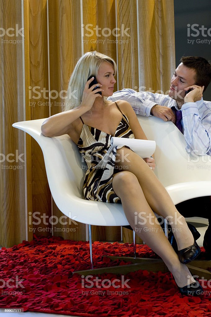 business people talking on mobile phone royalty-free stock photo