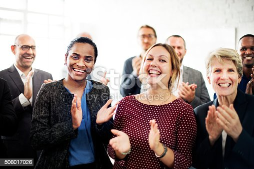 istock Business People Team Applauding Achievement Concept 506017026