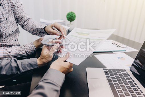 istock Business people to comment on investment and marketing plan in the meeting. 1144327683