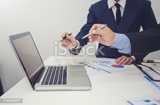 istock Business people to comment on investment and marketing plan in the meeting. 1144340271