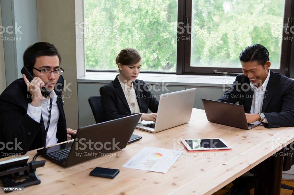 Business people to work on your PC stock photo