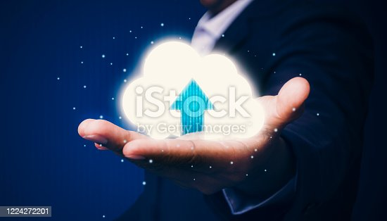 513118394 istock photo Business people upload data through the media with the most advanced technology development 1224272201