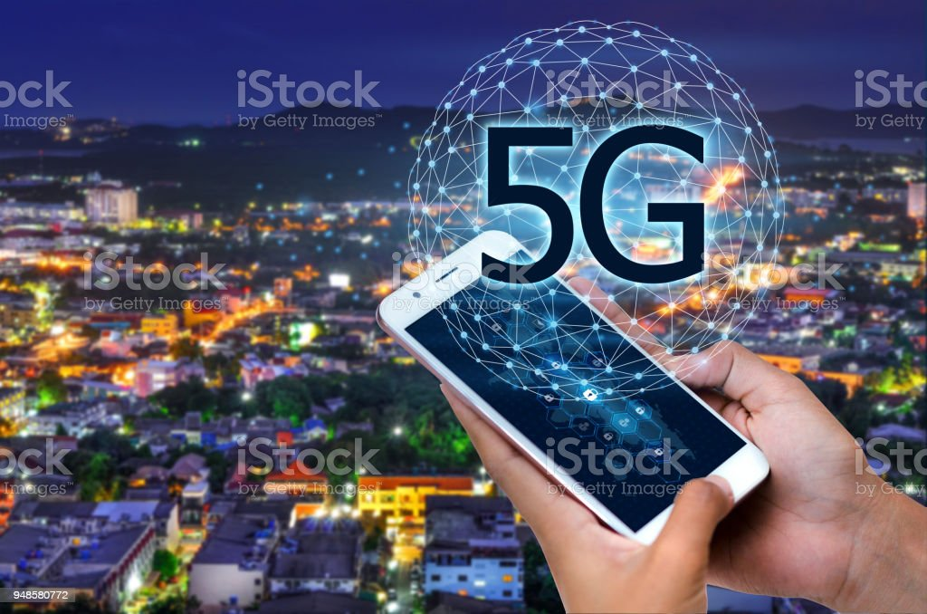 Business people use global communication phones in the 5g system stock photo